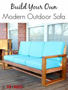 Build Your Own DIY Outdoor Modern Sofa How to build a DIY Modern Outdoor Sofa with minimal tools from attractive cedar boards. See all the steps with a full How To Video and plans available. Modern Outdoor Sofas, Outdoor Couch, Outdoor Spaces, Outdoor Living, Outdoor Decor, Modern Sofa, Outdoor Fabric, Outdoor Ideas, Modern Living