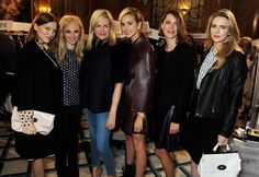 Emma Hill with Mulberry front row guests Lea Seydoux, Juno Temple, Elizabeth von Thurn und Taxis, Rebecca Hall and Brit Marling.