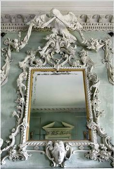 Baroque mirror - Details, details...Peckover House 18th century rococo limewood carving with eagle and ribbons over drawing room chimneypiece at Peckover House, Wisbech Cambridgeshire, England, photo via thisivyhouse.