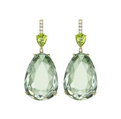 Candy Green Amethyst and Peridot Earrings - Beautiful smooth cut green amethyst stones claw set for maximum light and sparkle creating the most stunning earrings. Set in 18ct yellow gold with a string of sparkling diamonds and a vivid tear drop peridot; a fresh look for Summer.