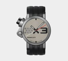 Name: Oakley Transfer Case  Material: stainless steel, rubber strap  Size: 44mm  Movement: quartz  Key Features: 60 month battery, sapphire crystal with anti-reflective coating, water resistant to 100m, screw-down stainless steel case back  Price: $525    Read more at Men's Health: http://www.menshealth.com/style/watches-conversation-starters##ixzz2AE6uYU8Y