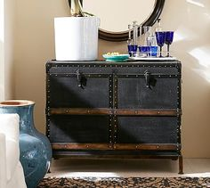 Ludlow Trunk Bar Cabinet #potterybarn