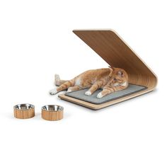 Astoria Bamboo Cat Scratcher and Set of 2 Bowls by Architect Pets - the solution for preventing cats from scratching on unwanted surfaces, while fitting into your home decor. Thin layers of bamboo are pressed around a curved form to create a unique shape that allows for multiple scratching surfaces. The replaceable sisal tiles in either natural or blue-grey last long beyond other scratchers, and the design is completed with four non-skid rubber feet for happy cats and happy humans. $125 !!