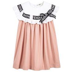 Fendi - Girls Pink Text Ribbon Dress | Childrensalon