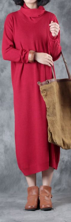 2017 autumn red fashion long knit dresses plus size casual elastic warm swereat dress2