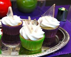 """Sugar """"shards of glass"""" for Halloween cupcakes. This sugary recipe would also be good for making """"ice"""" candy for Xmas too."""