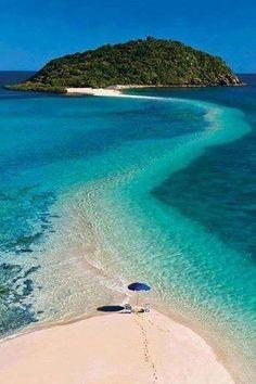 Fiji ~ Sandbar path allows you to walk on water to that island.