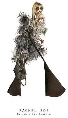 Fashion illustration of the fabulous Rachel Zoe and baby Skylar by Jamie Lee Reardin