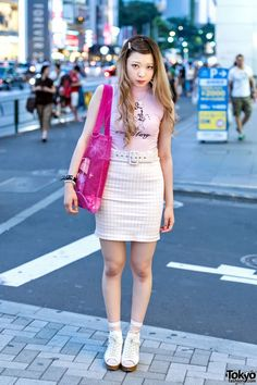Katie Sleeveless T-Shirt, Gingham Mini-Skirt & Opening Ceremony Bag in Harajuku (Tokyo Fashion, 2015)