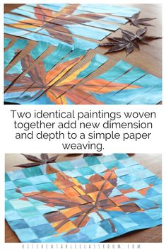 Weaving paper is an elementary skill that is important but is no joke to teach. Take that simple skill to the next level with this concept of weaving together two similar paintings. Paper weaving is great for fine motor skills, Paper Weaving, Weaving Art, Club D'art, 6th Grade Art, Atelier D Art, School Art Projects, Fall Art Projects, Class Projects, Middle School Art