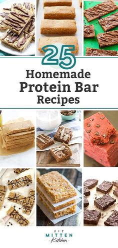 Homemade protein bars are the best! Whether youre looking for a low carb snack no sugar added vegan or gluten-free making protein bars at home is a great way to play around with flavors. Healthy clean eating bars good for kids and adults! Protein Bar Recipes, Healthy Low Carb Recipes, Protein Snacks, Protein Bars, Paleo Recipes, Free Recipes, Healthy Snacks, Whole Food Recipes, Dinner Recipes