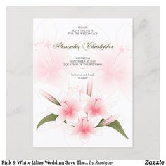 Shop Pink & White Lilies Wedding Save The Date 2 Announcement Postcard created by Ruxique. Postcard Template, Postcard Size, Floral Invitation, Invitation Cards, Save The Date Invitations, Wedding Invitations, Lily Wedding, Wedding White, Lilly Flower