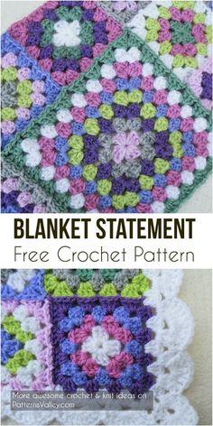 Baby Blanket Statement Free Crochet Pattern #crochet #babyblanket #freecrochetpattern #crochetlove #baby #babyshowerideas #grannysquare