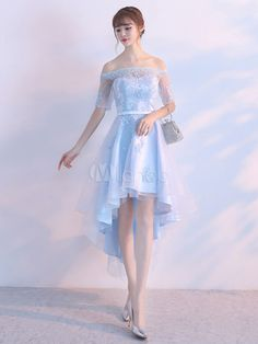 02644150371 Tulle Prom Dress Pastel Blue Illusion Sash Off The Shoulder Lace Applique  Homecoming Dresses A Line High Low Party Dresses