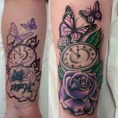 Pocket watch coverup tattoo by Nathan at Holy Trinity Tattoos Cover Up Tattoos For Women, Tattoos For Kids, Tattoos For Daughters, Sleeve Tattoos For Women, Mom Tattoos, Trendy Tattoos, Finger Tattoos, Body Art Tattoos, Badass Tattoos