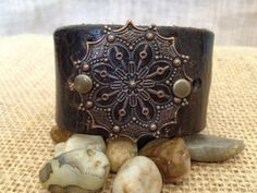 www.etsy.com/shop/journeyondesigns Leather cuff bracelet, handmade from recycled belts, copper embellishment on brown leather
