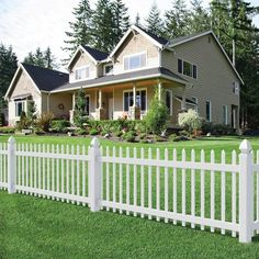 H x 8 ft. W White Vinyl Spaced Picket Fence Panel Veranda Chelsea 3 ft. H x 8 ft. W Spaced Picket Vinyl Fence - The Home DepotVeranda Chelsea 3 ft. H x 8 ft. W Spaced Picket Vinyl Fence - The Home Depot House Fence Design, Wood Fence Design, Privacy Fence Designs, Garden Design, White Vinyl Fence, White Picket Fence, White Fence, Green Fence, Picket Fence Panels