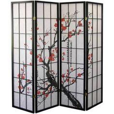 ORE International 4-Panel Room Divider, Plum Blossom, Purple