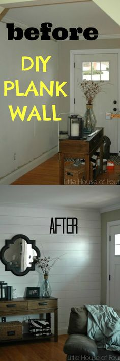 DIY Plank wall for $50.00 - could I do something like this for the upstairs attic rooms??