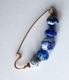 Brooch pin  fibula shawl pin hat pin lampwork by KilnFiredArt, £13.00