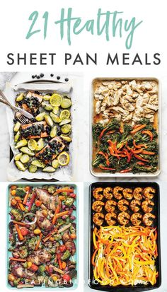 Is there anything better than making an entire meal on one pan? I rounded up 21 healthy sheet pan recipes for you for super simple meals this week! Healthy Recipes Healthy Sheet Pan Dinners That Make Weeknight Meals a Breeze Le Diner, Healthy Snacks, Healthy Cheap Meals, Simple Healthy Recipes, Healthy Dinners For Two, Heart Healthy Meals, Fast Recipes, Healthy Family Meals, Super Food Recipes