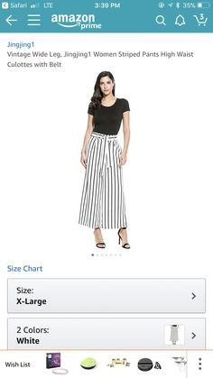 Women Vintage High Waist Wide Leg Stripe Culottes Belted Pants (XL, White) #spring2018 https://www.amazon.com/dp/B06XWBN7NZ/ref=cm_sw_r_cp_api_OPpzAb32A5Q8V
