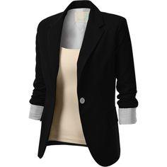 J.TOMSON Womens Single Button Blazer With 2 Pocket Flap ($43) ❤ liked on Polyvore featuring outerwear, jackets, blazers, shirts, tops, black blazer, blazer jacket, black blazer jacket, black jacket and single button blazer