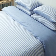 Cotton Pure Sky Blue Stripe Quilt Cover | Cromly Shop