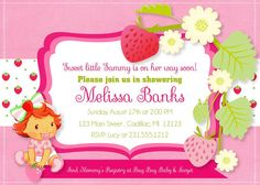 Baby Girl Strawberry Theme Party Invitations This listing is for 5 X 7 digital printable card (DIGITAL FILE) If you would like this printed with