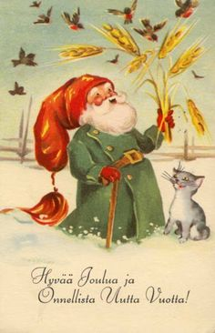 Such a Joyful Santa! Merry Christmas And Happy New Year, Christmas Wishes, Vintage Christmas Cards, Vintage Cards, Old Postcards, Photo Postcards, Baumgarten, Nostalgic Images, Elves And Fairies