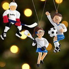 Baseball Player Ornaments--really team sports ornaments--soccer, basketball and softball