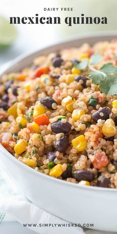 Mexican Quinoa Recipe (Dairy Free, Vegan) - Simply Whisked This Mexican quinoa recipe is made with corn, black beans and diced tomatoes with chilies. It's a great side dish or an healthy, vegan dinner idea. Quinoa Recipes Easy, Yummy Recipes, Dairy Free Recipes, Mexican Food Recipes, Whole Food Recipes, Vegetarian Recipes, Cooking Recipes, Yummy Food, Healthy Recipes