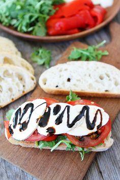 Roasted Red Pepper, Arugula, and Mozzarella Sandwich