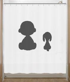 Snoopy Shower Curtain Charlie Brown Peanuts bathroom decor bath kids. $39.95, via Etsy.