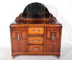 Vintage-Oak-Sideboard-Art-Deco-Credenza-Antique-Mirrored-Buffet-1930s