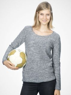 Anni Grey Offwhite thinly knit pullover by Rockamora