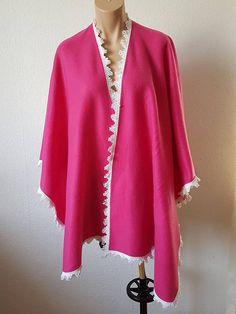 Wunderschöne Fleece Poncho Pink Gr. M L XL XXL  Unikat
