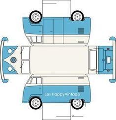 Cute VW van box - free printable template