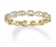 Multi Shaped 14k Gold Diamond Eternity Band - Stackable Wedding Rings