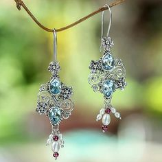 Balinese Cultured Pearl and Blue Topaz Garnet Earrings - Sky Sonnet by Buana.  I love the colors and the cute dangles.