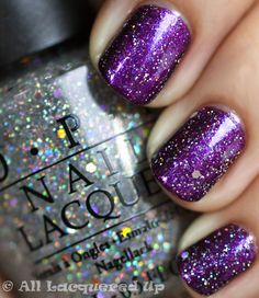 Servin' Up Sparkle O.P.I nail polish! It's total glitter, so I'd wear it over top of another color. Like purple in the pic.