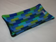 Green and Blue Rectangular Fused Glass Plate on Etsy, $25.00