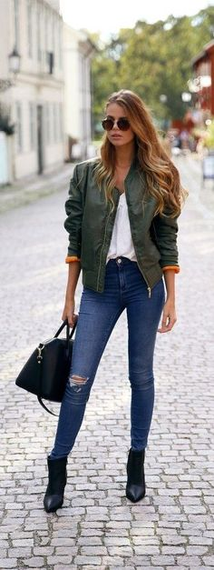 Sexy bomber jacket, strapped jeans, street style
