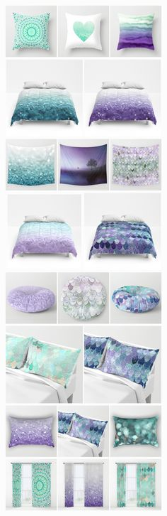 Mix & Match the cutest teen room in purple and mint tones ... glitter, mermaid, mandala, mermaid scales and everything trendy!  All designs by Monika Strigel for Society6  on duvets, pillows, shams, comforters, tapestries, rugs, shower curtains, floor pillows and more! Starting $20