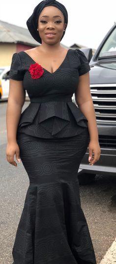 kaba and slit style dress for funeral by moesha boduong, African fashion, Ankara, kitenge, African women dresses, African prints, African men's fashion, Nigerian style, Ghanaian fashion, ntoma, kente styles, African fashion dresses, aso ebi styles,