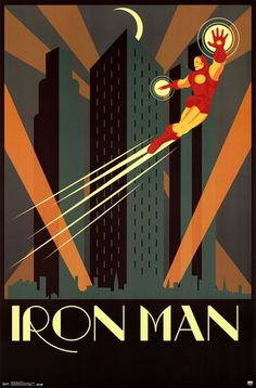 A great poster of Marvel Comics superhero Iron Man! A classy Art Deco design of The Avengers' main man flying high. Check out the rest of our awesome selection of The Avengers posters! Need Poster Mounts. Poster Marvel, Comic Poster, Poster Art, Kunst Poster, Marvel Comics Art, Art Deco Posters, Comic Art, Poster Prints, Poster Ideas