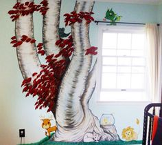 Game of Thrones nursery mural. When I read the title I thought it may be inappropriate for kids, but it's pretty darn cute! (The GoT references are in the critters)