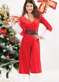 cb1a91d79d4f8 Women Long Sleeve Hooded Santa Dress Costume Christmas Costumes