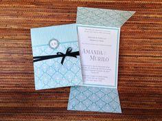 Convite de Casamento Orléans - Azul
