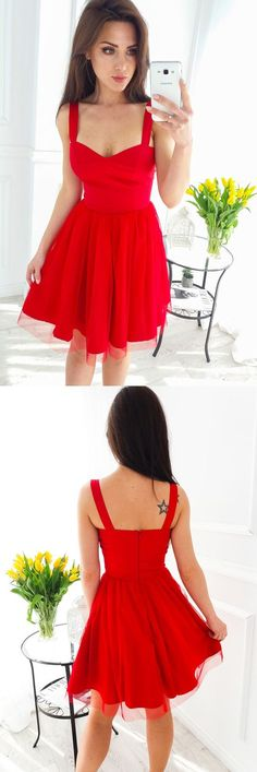 red tulle homecoming dresses,simple short prom party dress for teens